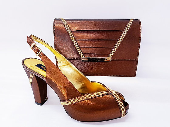 Lucia, brown Mary Shoes mid-height platform shoes and matching bag set