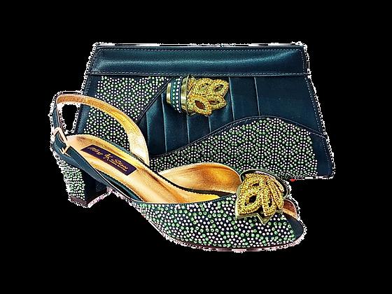 Chiara, emerald stone adorned low heel wedding shoes and bag