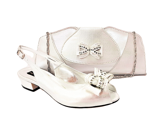 Arlene, Mary Shoes silver very low heel shoes and matching bag set