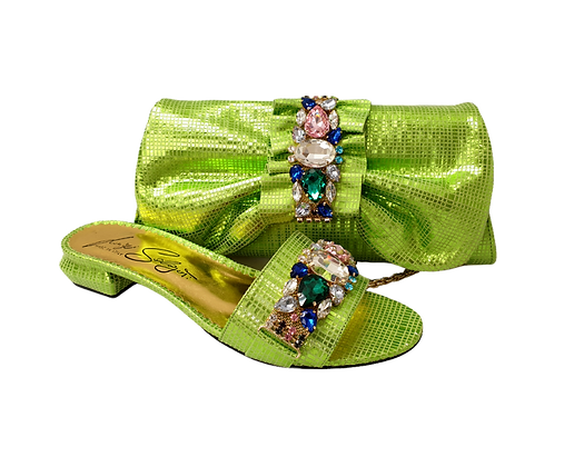 Valerie, jewel embellished lemon low wedding sandals and matching bag