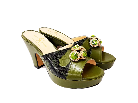 Army-green Mary Shoes croc-effect leather sandals