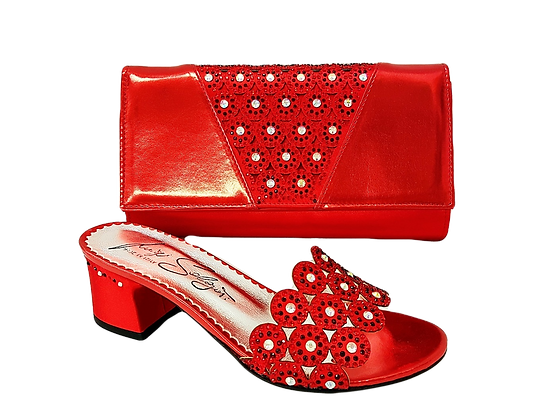Fiorella, red laser-cut mid-height wedding sandals and matching bag