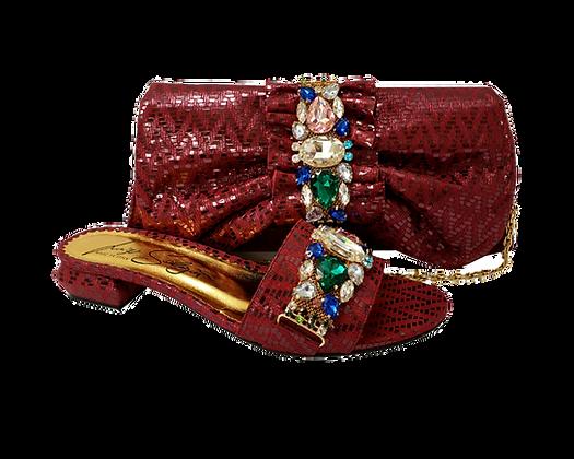 Valerie, jewel embellished burgundy low wedding sandals and matching bag