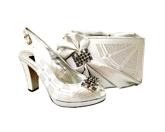 Emma, MaryShoes silver mid-height wedding shoes and matching bag set
