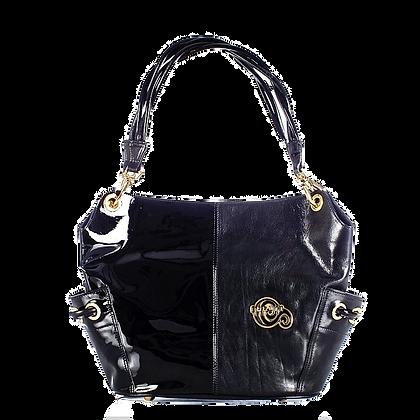 Cerruti Black & Wet-look Leather Large Tote Bag