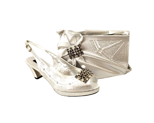 Emma, Mary Shoes silver low heel wedding shoes and matching bag set