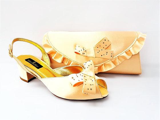 Verona, Mary Shoes beige low chunky heel wedding set