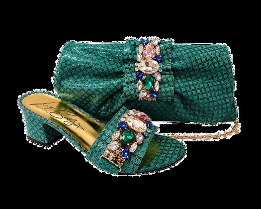 Valerie, jewel embellished teal wedding sandals and matching bag