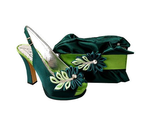 Ruby, Salgati emerald-lemon high heel occasion shoes and matching bag set