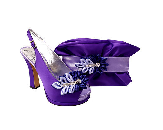 Ruby, Salgati purple-lilac high heel occasion shoes and matching bag set