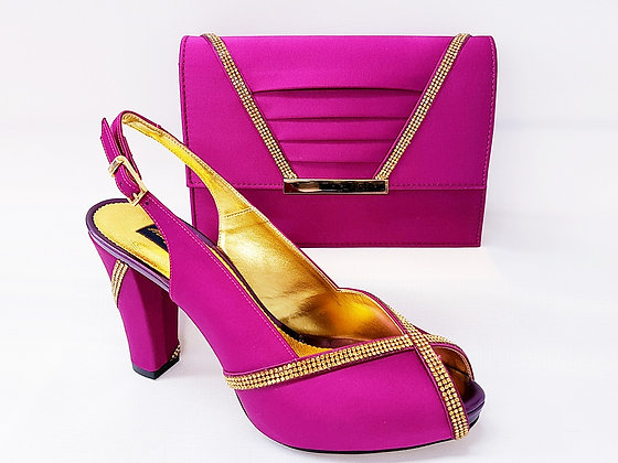 Lucia, magenta Mary Shoes mid-height platform shoes and matching bag set