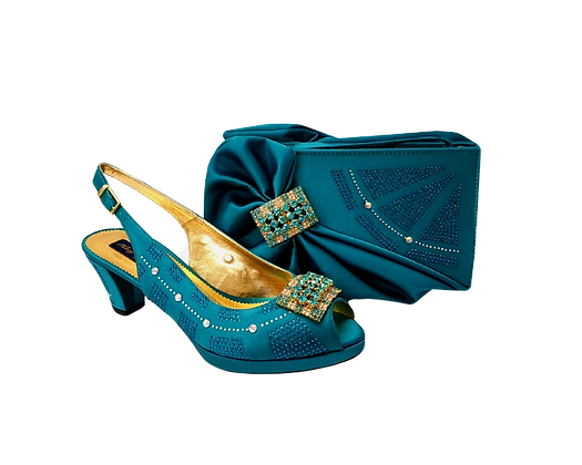 Emma, Mary Shoes teal low heel wedding shoes and matching bag set