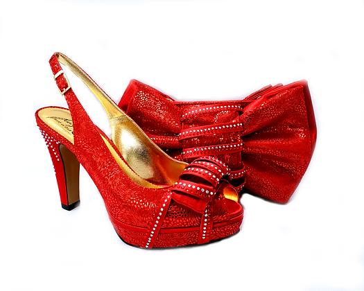 Iris, Salgati red wedding shoes and matching bag set