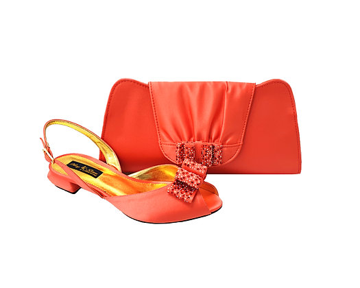 Ava, Mary Shoes coral very low wedding shoes and matching bag