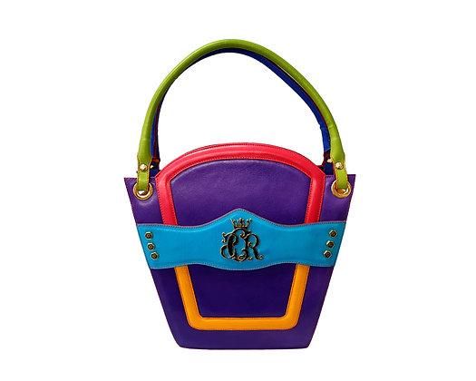 Cerruti 'Crown' purple multicolour limited edition leather handbag