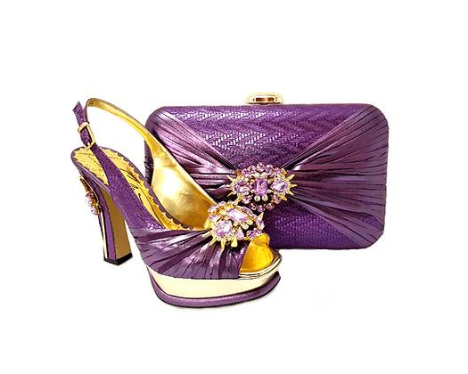 Vogue, Salgati purple wedding party shoes and bag set