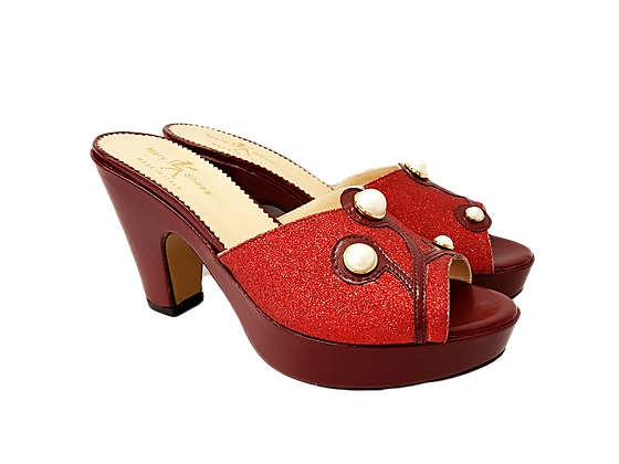 Burgundy Mary Shoes pearl platform sandals