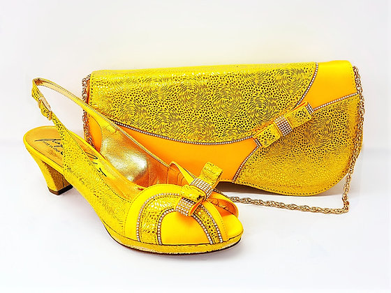 Sheila, Salgati yellow low heel platform shoes and bag wedding set