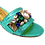 Thumbnail: Valerie, jewel embellished mint low wedding sandals and matching bag