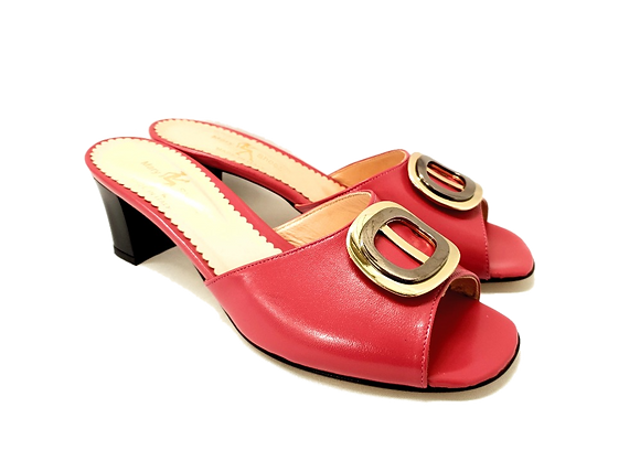 Olivia, pink mid block heel sandals