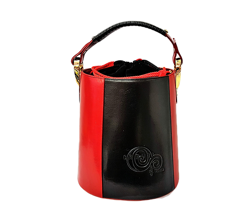 Cerruti red and black Leather Bucket Handbag