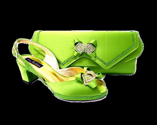 Elaine, Mary Shoes lemon low heel wedding shoes and matching bag set