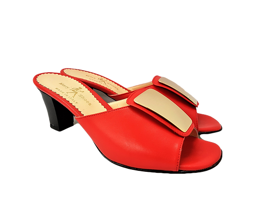 Leyla red mid-height leather sandals