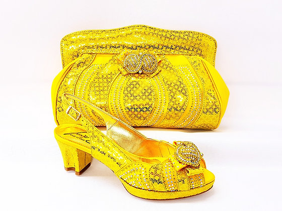 Florence, Salgati yellow low heel platform wedding shoes and