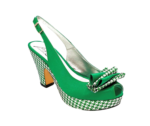 Tina, trendy chess platform wedges in green