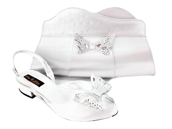 Stella, Mary Shoes silver very low heel wedding shoes and bag set