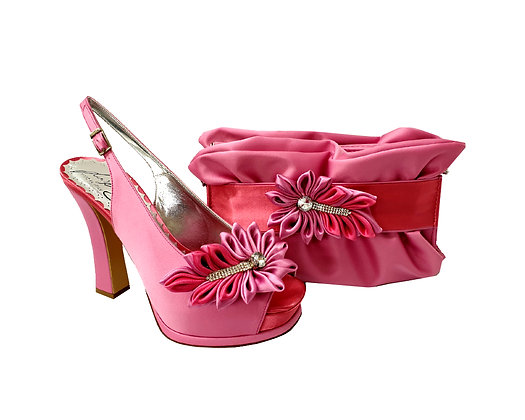 Ruby, Salgati pink high heel occasion shoes and matching bag set