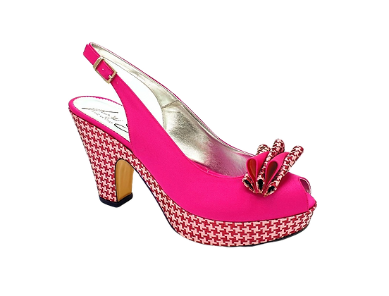 Tina, trendy chess platform wedges in pink