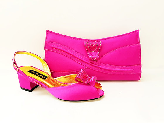 Poppy, pink Mary Shoes low chunky heel wedding shoes and bag set