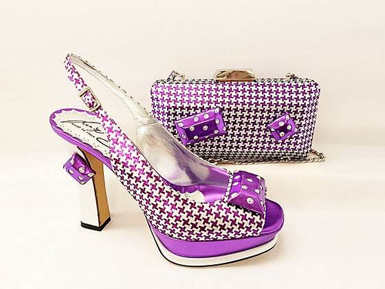 Cherie, Salgati purple & silver high-heel platform wedding set