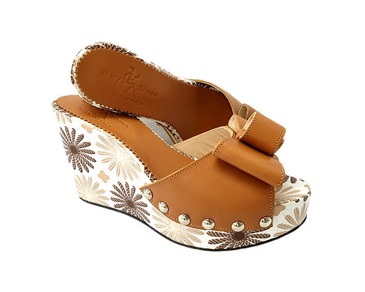 Beatrice, Mary Shoes tan floral wedges