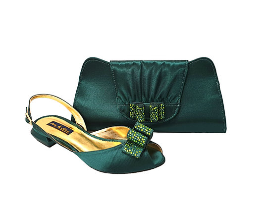 Ava, Mary Shoes emerald very low wedding shoes and matching bag