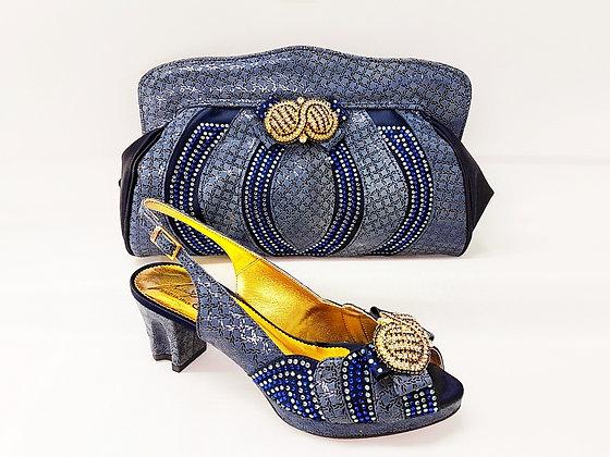 Florence, Salgati navy low heel platform wedding shoes and bag set