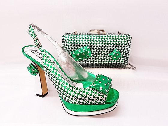 Cherie, Salgati green and silver high-heel platform wedding set