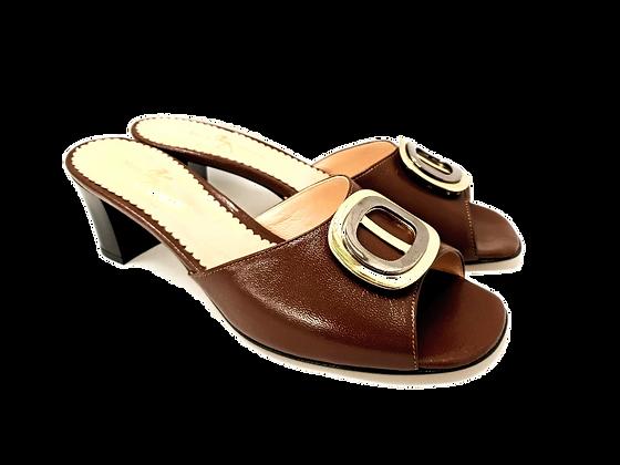 Olivia, brown mid block heel sandals