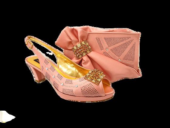 Emma, blush low heel wedding shoes and matching bag set