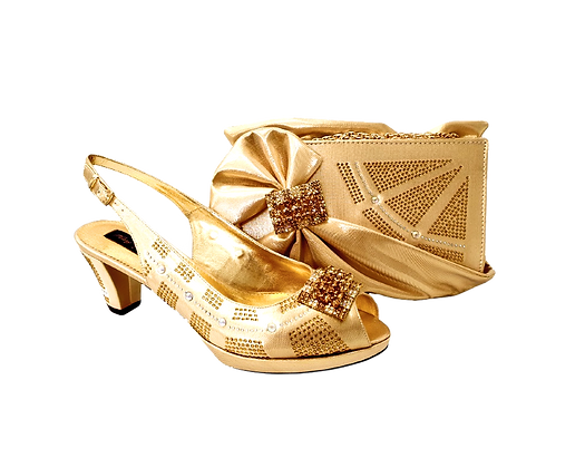 Emma, MaryShoes gold low heel wedding shoes and matching bag set