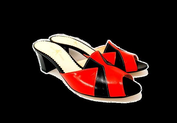 Alice, red and black mid block heel sandals