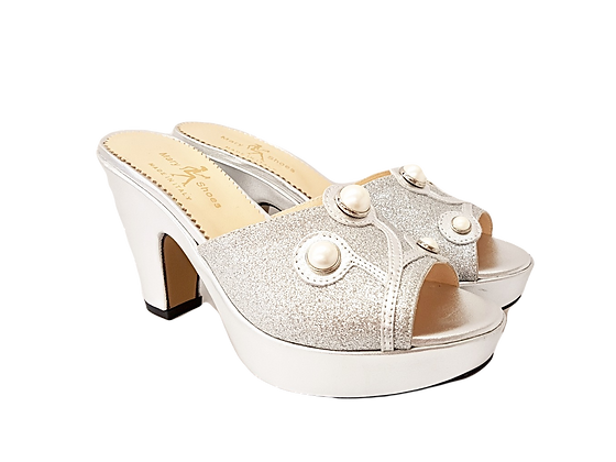 Silver Mary Shoes pearl platform sandals