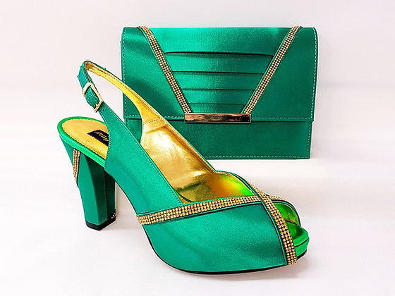 Lucia, green Mary Shoes mid-height platform shoes and matching bag set