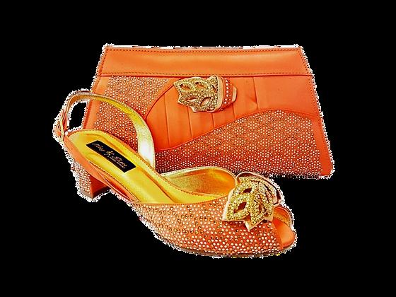 Chiara, peach stone adorned low heel wedding shoes and bag