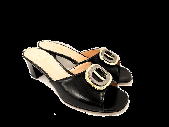 Olivia, black mid block heel sandals