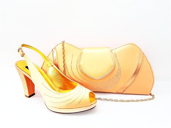 C-Wave, Mary Shoes peach stone embellished mid-height wedding shoes and