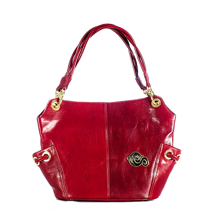 Cerruti Red Leather Large Tote Bag