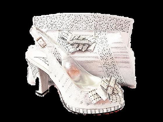 Sharon, Salgati silver mid-height platform shoes and bag set
