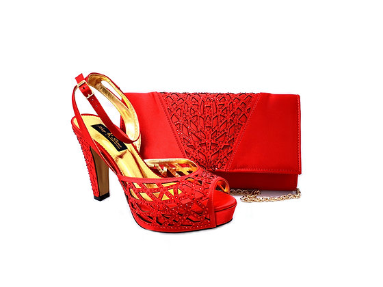 Alexa, Mary Shoes red laser-cut high heel wedding shoes and matching bag set